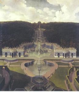 Zicht op op de residentie van Landgraf Karl van Kassel, het onderste watertheater