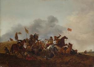 Ruitergevecht in glooiend landschap