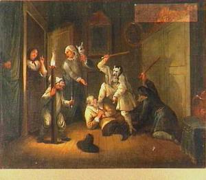 Scène uit 'Hudibras' van Butler (1726): De overval op Hudibras (één uit een serie van zes)