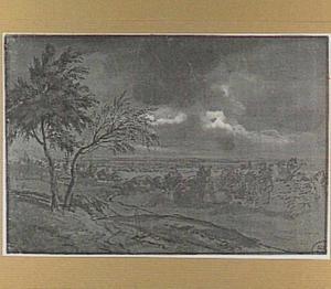 Onweer boven een panoramisch landschap met bomen
