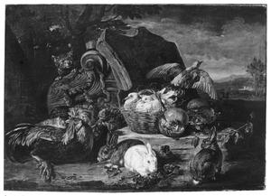 Kippen, konijn en duiven in een landschap, links achter een romeins kapiteel een kat