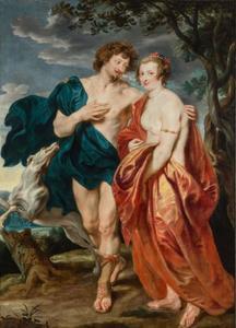 Portrait historié van een onbekende man en vrouw als Adonis en Venus