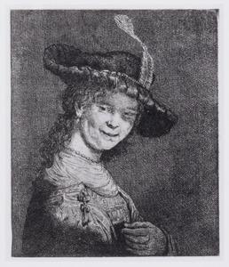 Borststuk van een lachende, jonge vrouw, mogelijk Saskia van Uylenburch (1612-1642)