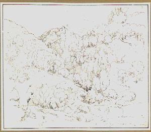 Berglandschap met bomen in de omgeving van Roccantica