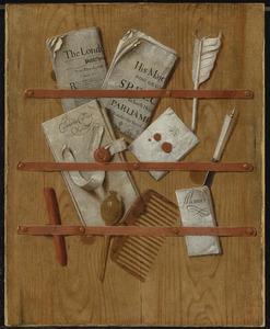Trompe- L'oeil brievenbord met ganzenveer, kam en mes
