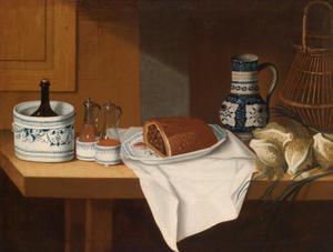 Stilleven van een tafel met vaatwerk en diverse etenswaren