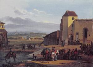 Reizigers rustend voor de fortificaties van een stad in de achtergrond