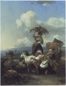 Zuidelijk berglandschap met geitenhoedster