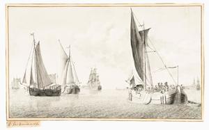 Schepen op de Merwede bij Dordrecht (?)