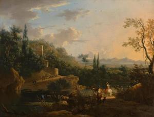 Italiaans landschap met oversteekplaats in de rivier