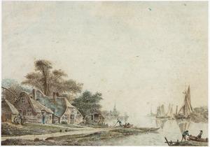 Rivierlandschap met boten en huizen aan de waterkant