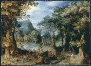 Boslandschap met houthakkers