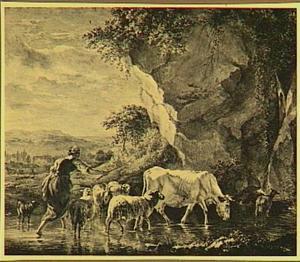 Italianiserend heuvellandschap met herderin en vee