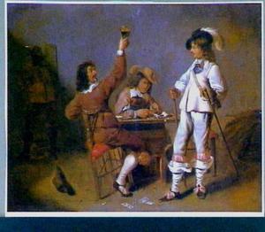 Vier mannen drinkend, rokend en plassend in een interieur