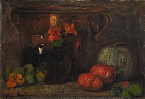 Stilleven met vruchten en bloemen in een vaas