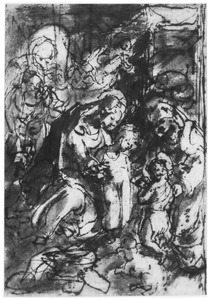 H. Familie met kind Johannes de Doper en H. Elizabet