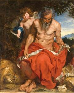 De H. Hieronymus mediterend in de wildernis