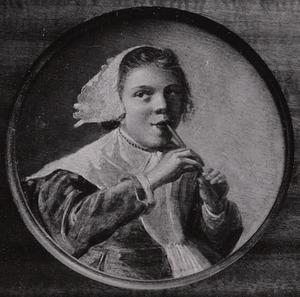 Meisje dat fluit speelt (de vijf zintuigen: het Gehoor)