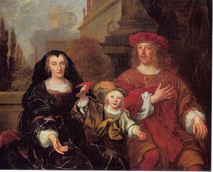 Familieportret van een onbekend echtpaar met hun zoont