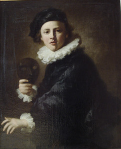 Portret van een jongeling met masker
