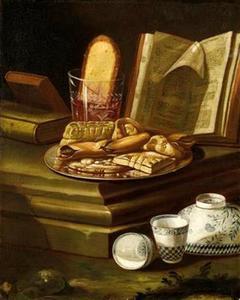Stilleven met broodjes, een opengeslagen  boek en porselein