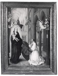 Maria met kind in een gotische kathedraal met de H. Ildefonsus