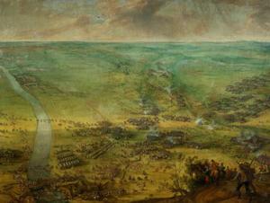 De slag bij Thionville, de aankomst der  keizerlijke troepen onder Ottavio Piccolomini 19 juni 1639