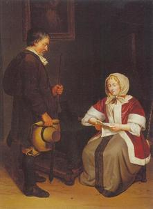Boodschapper naast een brieflezende dame