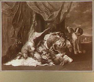 Buit van gevogelte, haas en everzwijn  bewaakt door twee honden