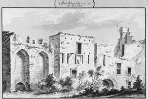 Ruïne van de zware, vierkante toren van het kasteel van Abcoude
