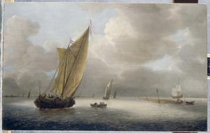 Hollandse schepen in een kalme bries