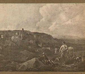 Zuidelijk landschap met rustende herders; op de achtergrond een stad