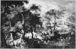 Boslandschap met een jagers en soldaten
