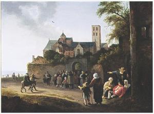 Landschap met uitdeling bij een kloosterpoort; op de achtergrond de Mariakerk te Utrecht