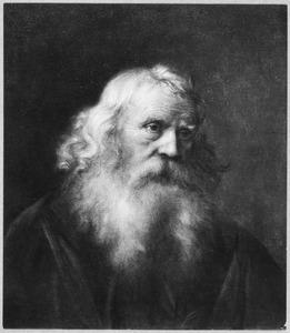 Borstbeeld van een oude man naar rechts