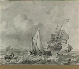 Hollandse schepen op woelige zee voor de kust