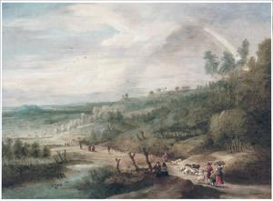 Weids heuvellandschap met boeren op weg naar de markt; rechts een regenboog