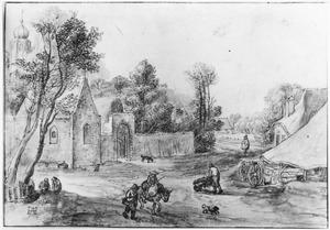 Dorpsgezicht met kapel, kasteel, boerderij en figuren