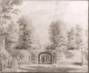 De overwelfde doorgang onder een van de terassen in de tuin van Zorgvliet