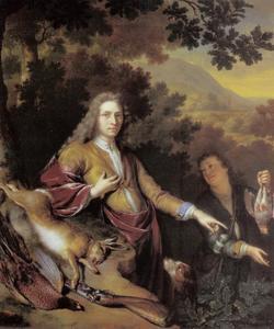 Portret van een onbekende man met zijn bediende na de jacht