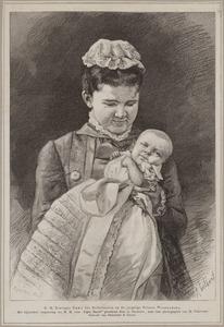 Portret van koningin Emma (1858-1934) met prinses Wilhelmina (1880-1962)