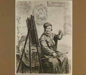 Zelfportret naast schildersezel