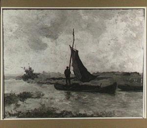 Polderlandschap met zeilboot