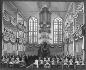 Viering van het tweede eeuwfeest van het Remonstrants Seminarium in de remonstrantse kerk te Amsterdam, 28 oktober 1834