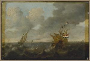 Hollandse schepen op een ruwe zee