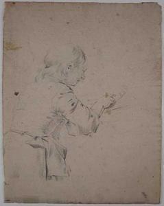 Studie van een lezende vrouw met een schort