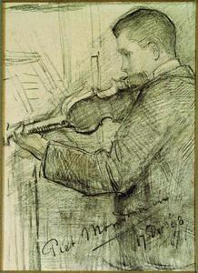 F.H. Mondriaan playing the violin