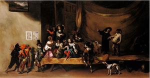 Repetitie of scène uit de Commedia dell'Arte