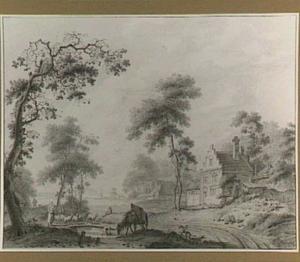 Landschap met ruiter en paard bij een drenkplaats bij een dorp
