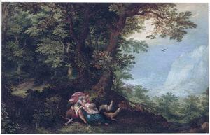 Boslandschap met Cephalus, die Procris per ongeluk dodelijk verwondt met een pijl